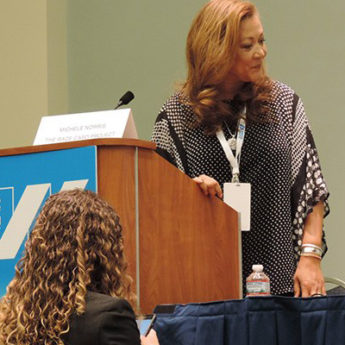 Photo of Michele Norris Speaking at the United States of Women Summit